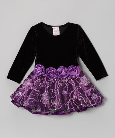 Take a look at this Black & Purple Sparkle Blossom Dress - Toddler & Girls by Nannette on #zulily today!