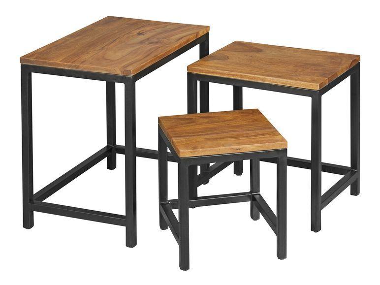 Wohnling 3er Set Design Beistelltisch Akola Sheesham Satztisch Metallbeine Design Beistelltisch Tisch Beistelltisch Eiche