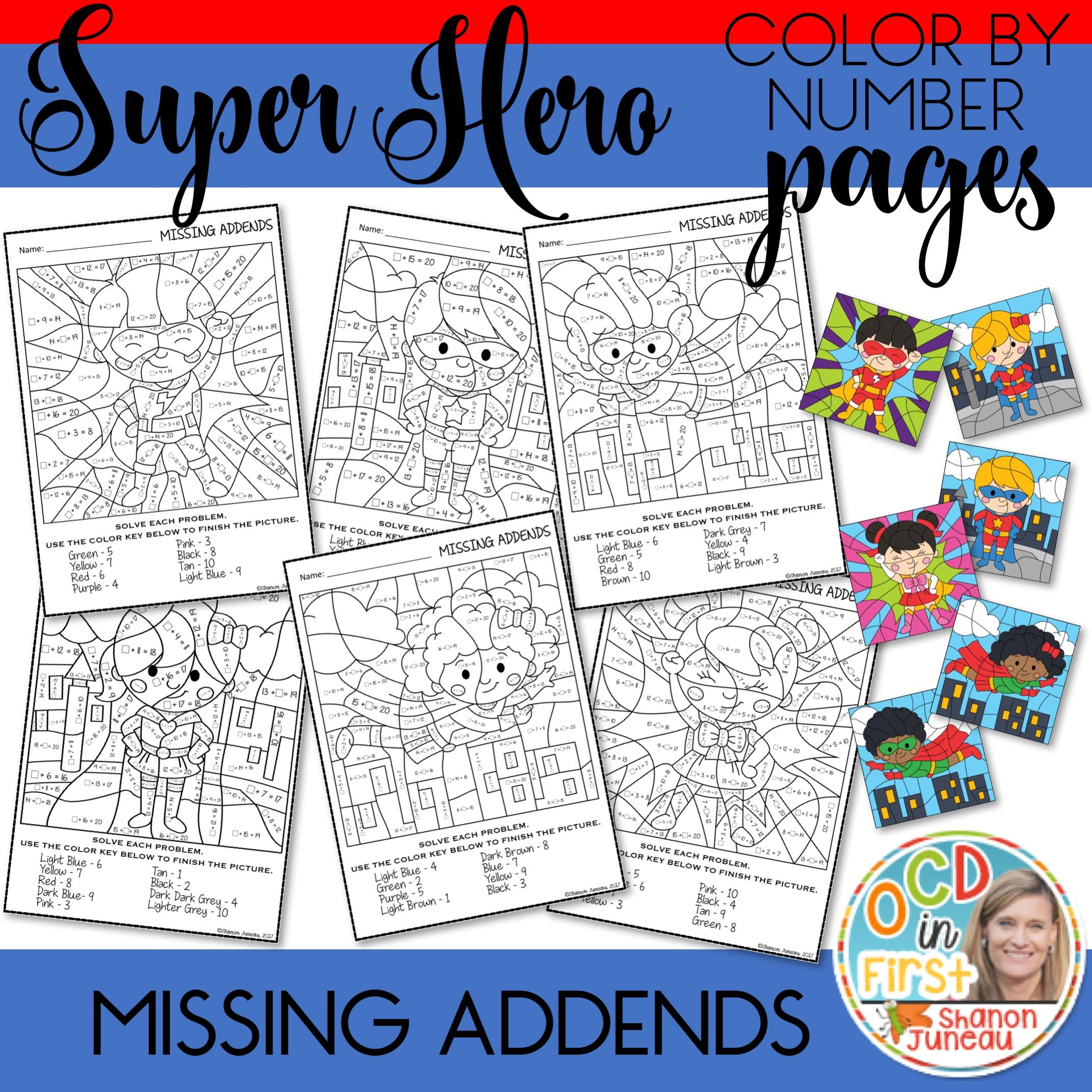 Color By Number Missing Addends Super Hero Themed