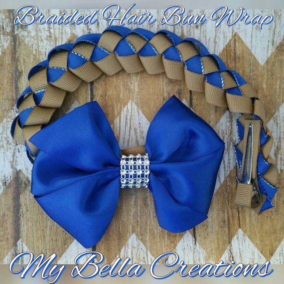 Items similar to Braided Hair Bun Wrap in navy and khaki on Etsy