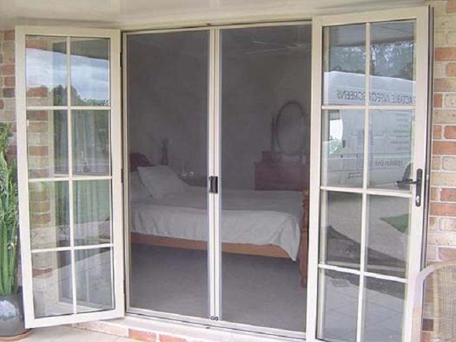 Retractable screen door for french doors home style for Triple french doors exterior