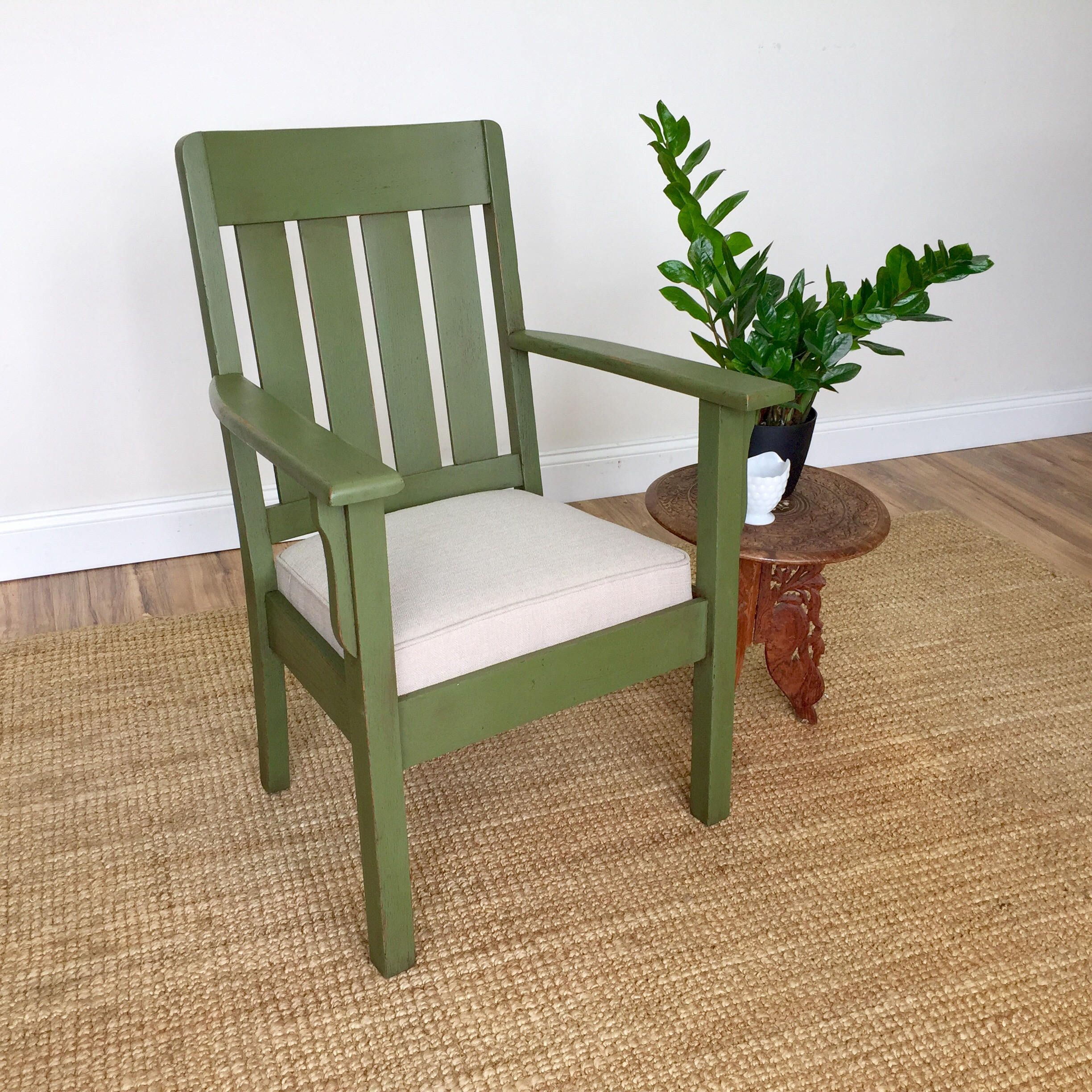 Antique Looking Furniture Cheap: Green Armchair - Mission Furniture