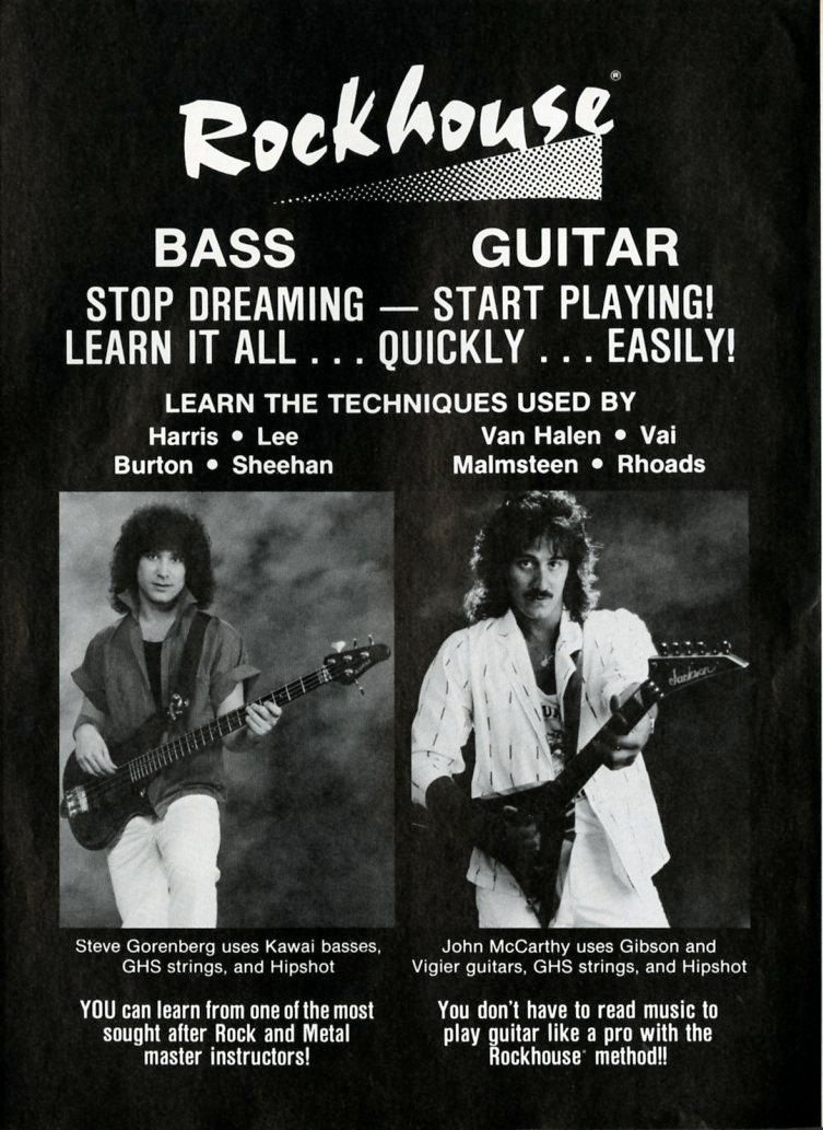 Rockhouse Promo Ad - Van Halen - Randy Rhoads - Paper Ephemera - Guitar Promo Ad - Vintage Music Ad - 80s Music Ad -…