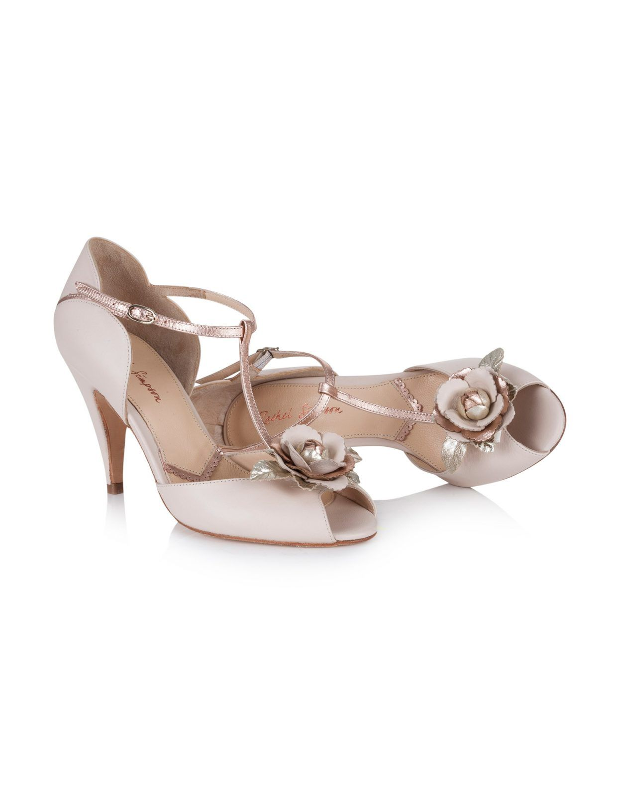 Gabriella Rose Gold Blush T Bar Wedding Shoes Rachel Simpson 9cm Heel