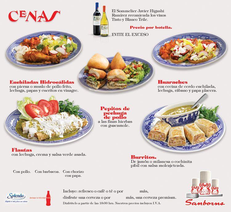 Cenas sanborns agosto 2014 platillos de cafeteras for Menu de sanborns
