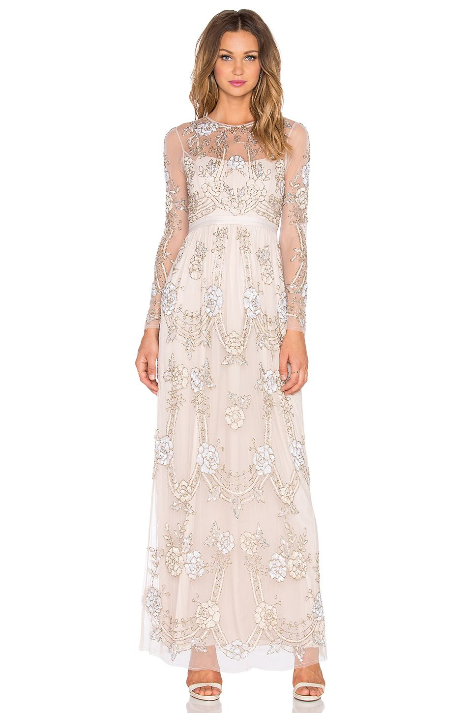 4948df433 Needle & thread Beaded Sequin-Embellished Maxi Dress in Transparent (Dust  Rose) | Lyst