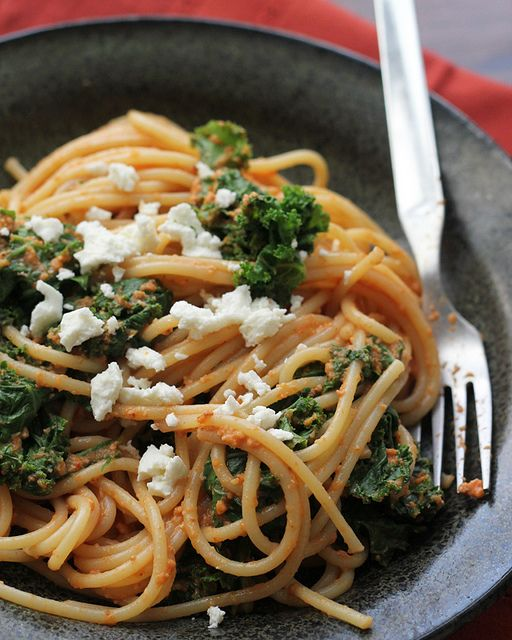 Roasted Red Pepper Pasta with Kale and Feta | Recipe ...