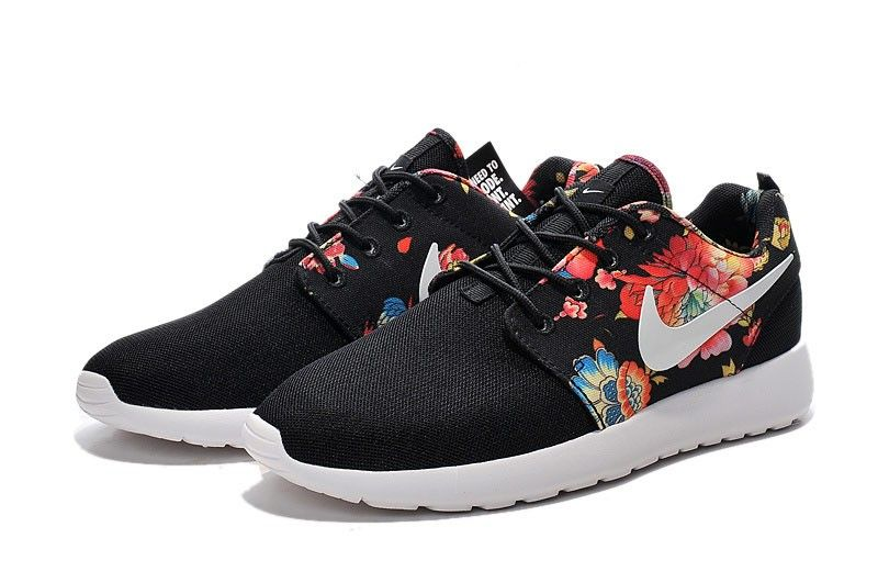 Women s Floral Print Black Red Flower Running Shoes  32a88a78e5
