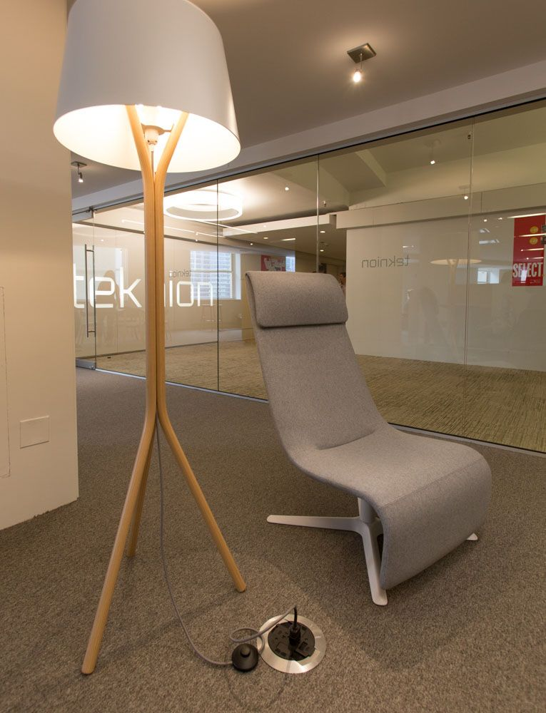 Excellent Teknion Zones Solo Lounge Chair And Wood Floor Lamp Wood Caraccident5 Cool Chair Designs And Ideas Caraccident5Info
