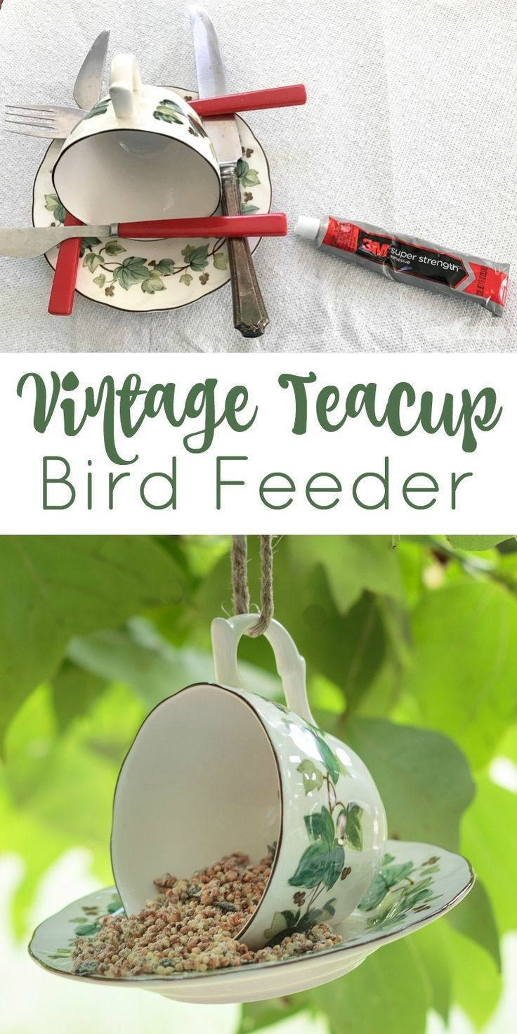 DIY Teacup Bird Feeder #thriftstorefinds
