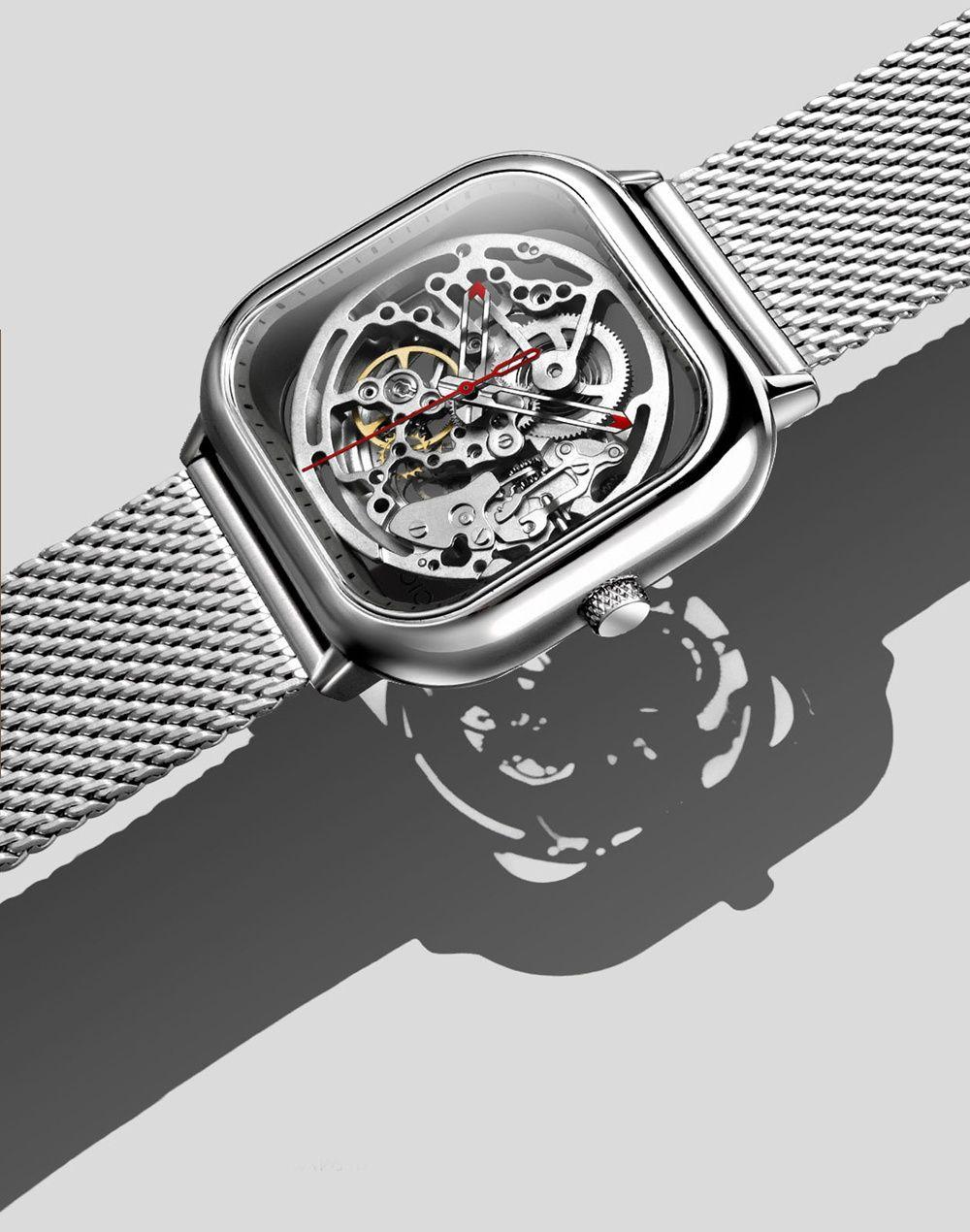 8ffc9540f1b Xiaomi CIGA Wristwatch Hollow Mechanical Stainless Steel Braided Band  Automatic Mechanical Core Men s Watch -Black