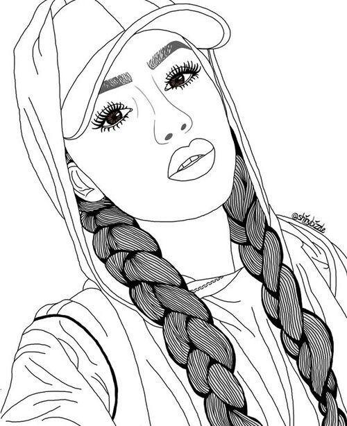 aesthetic coloring page - black and white fille tumblr pinterest dessins de