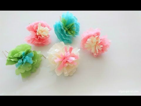 How To Make Mini Tissue Paper Flowers Youtube Paper Flowers