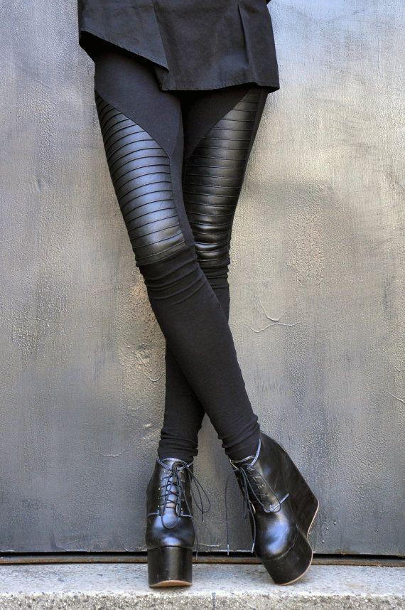 VENTA nueva colección negro Extra largas leotardos genuino cuero ... aa658eae61c4