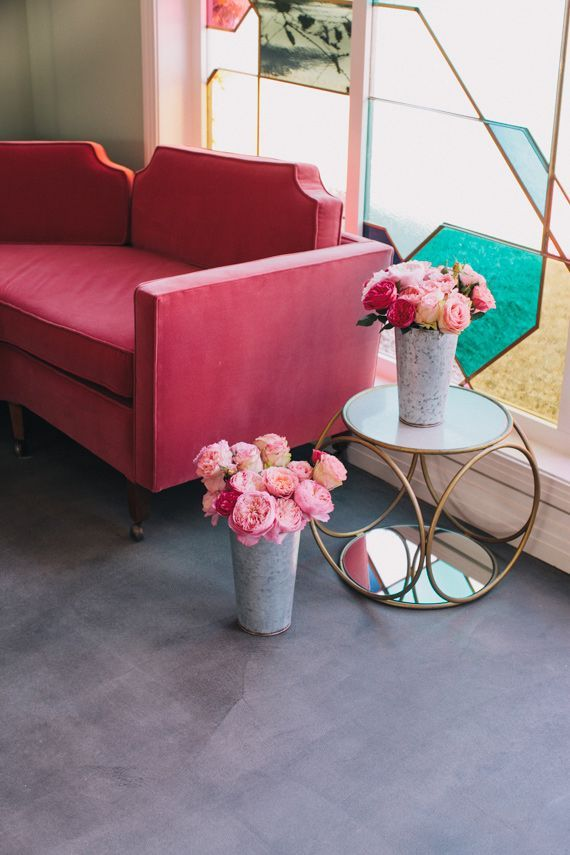 Pink sofas and candy colored windows | HOME / Office | Pinterest ...