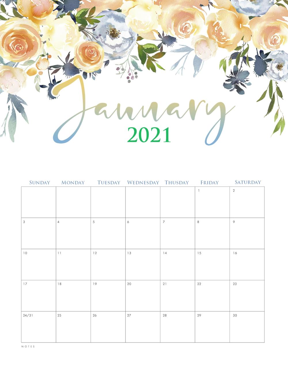 Cute January 2021 Calendar Template | Calendar printables ...