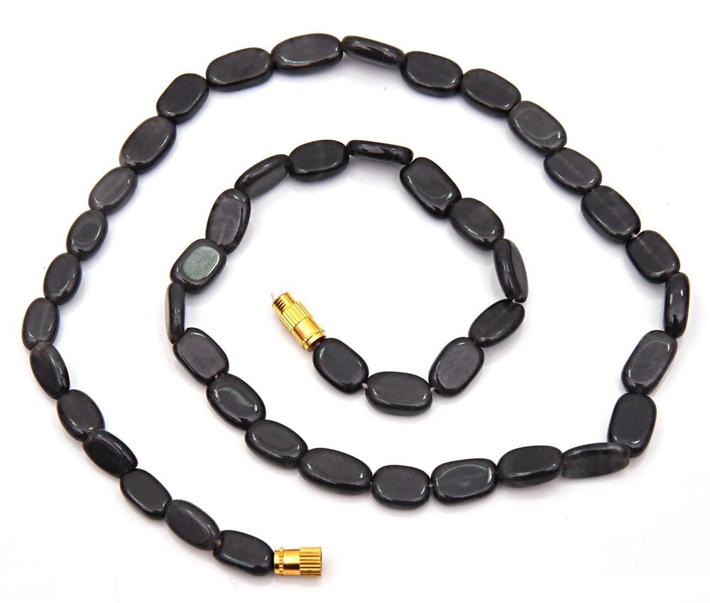"BEAUTIFUL NATURAL BLACK AVENTURINE STONE SMOOTH OVAL SHAPE BEADS NECKLACE 18"" #kantaincorporation #Faceted"
