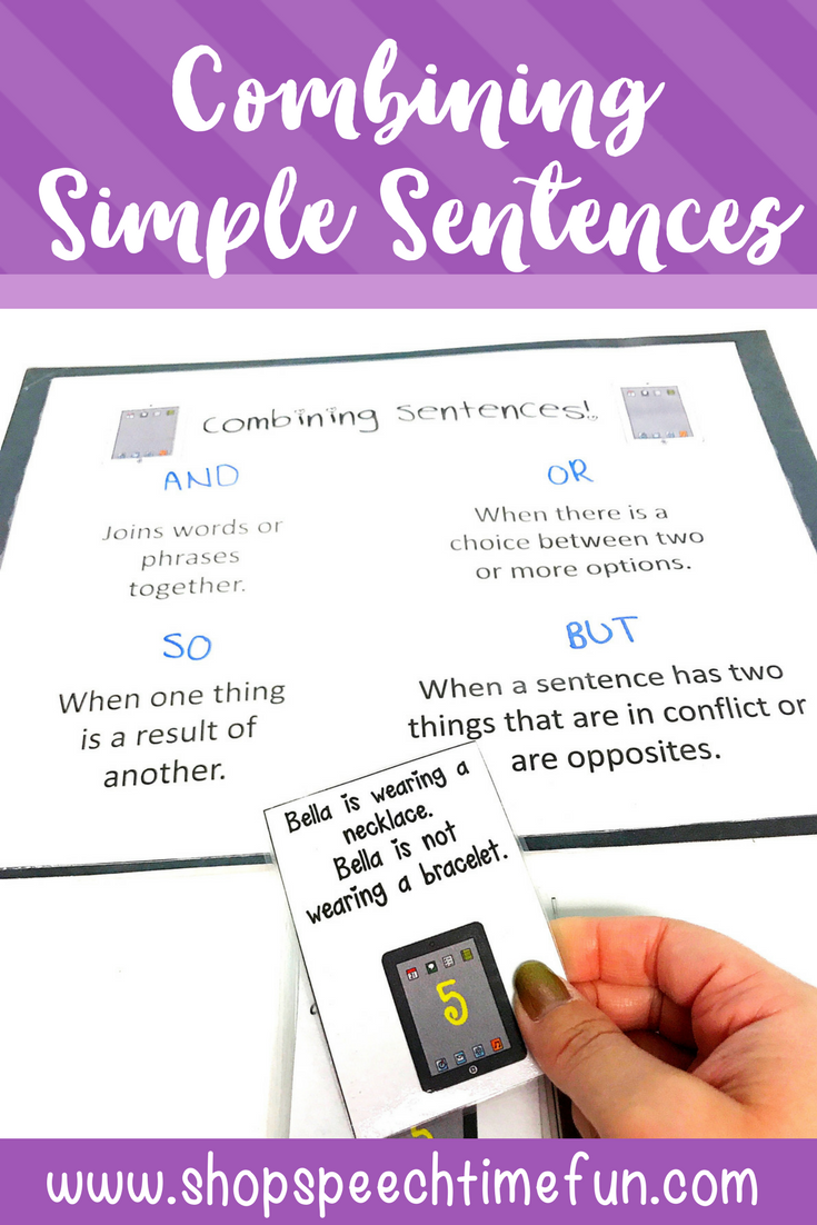 Practice using conjunctions and combining simple sentences in speech and language therapy