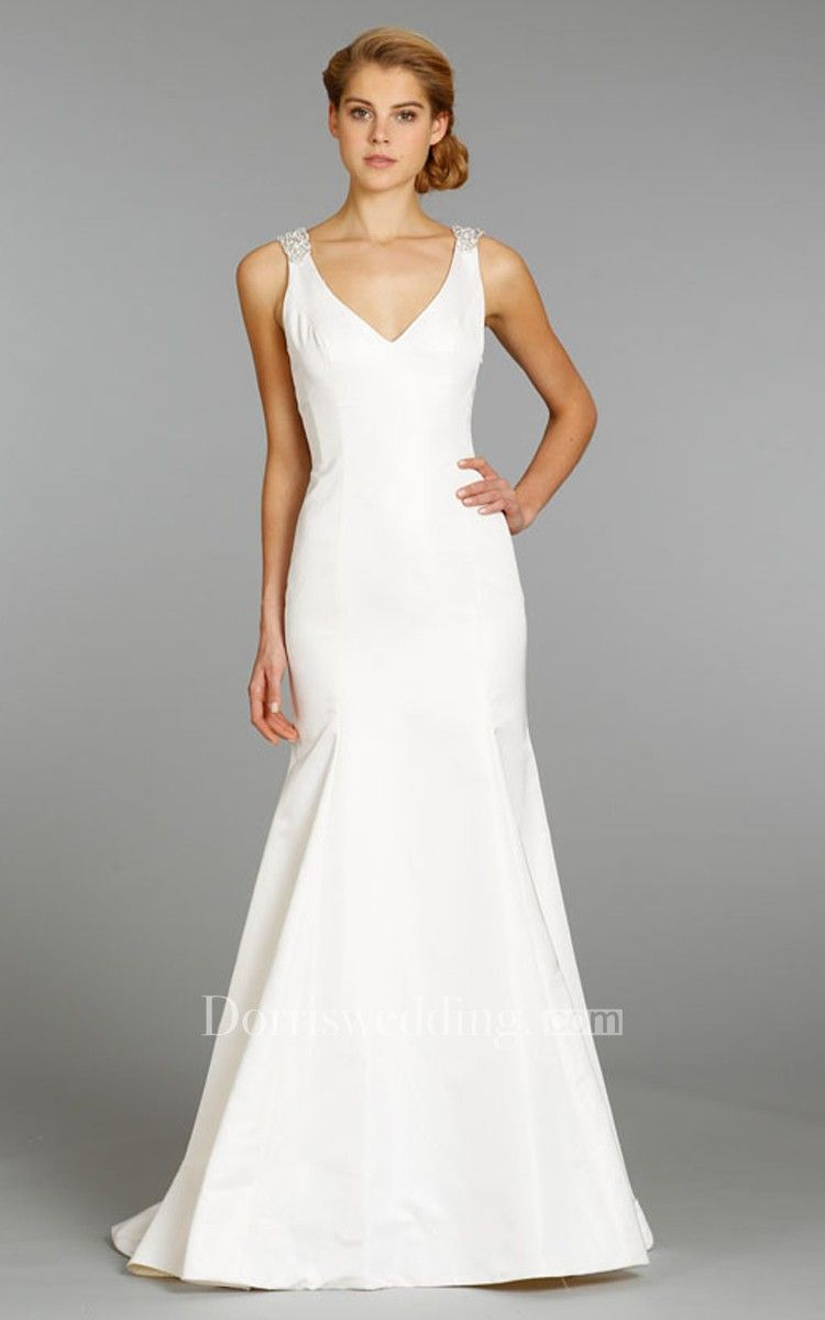 2015 Taffeta Mermaid Dipped Neckline Fit And Flare Wedding Dress Fit And Flare Wedding Dress Bridal Gown Fitting Fitted Wedding Dress [ 1977 x 1450 Pixel ]
