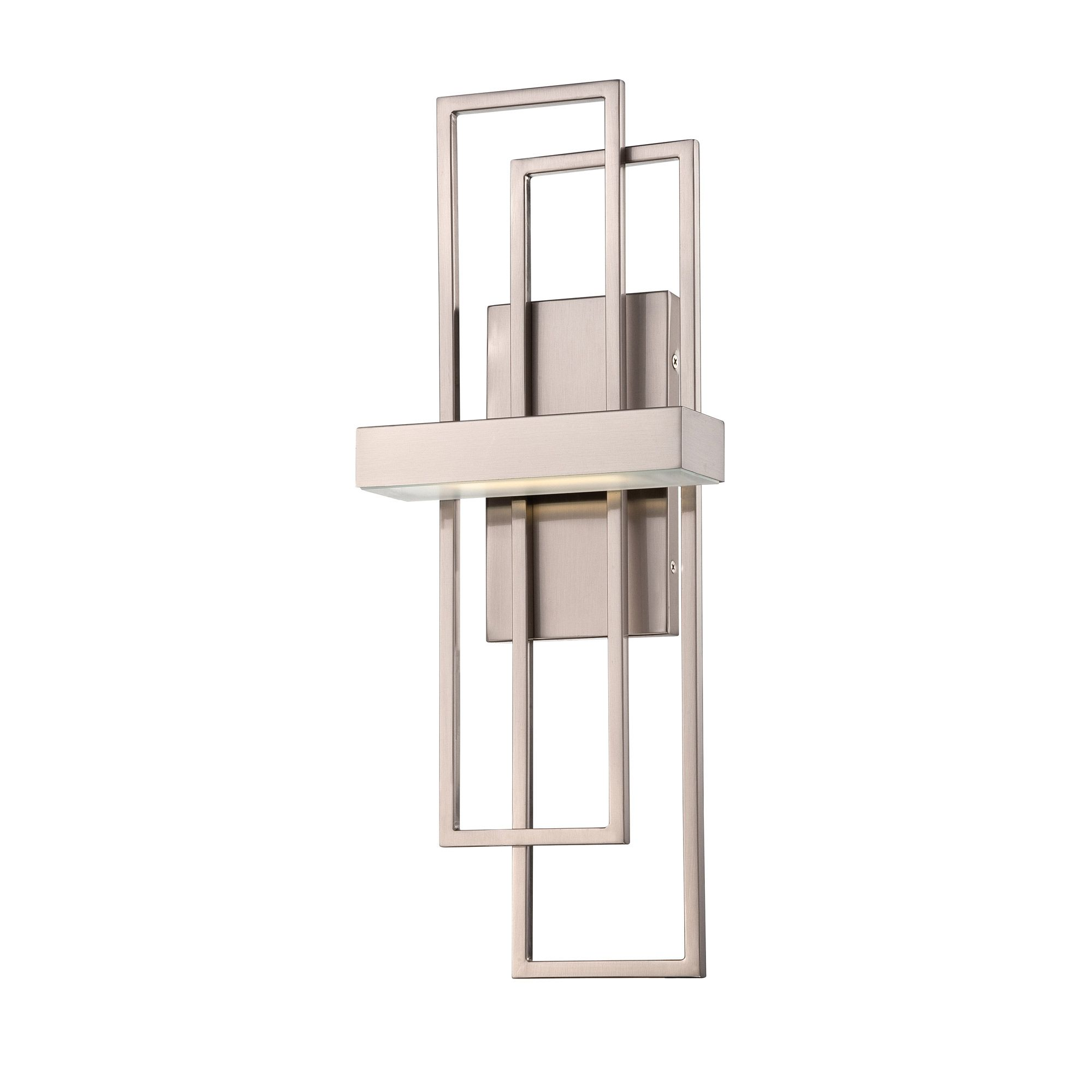 Frame Wall Sconce features a Frosted diffuser with a Hazel Bronze or Brushed Nickel finish. One 4.8 watt, 120 volt 2700K 80CRI 290 lumens LED type bulb is included. Dimmable with a standard low voltage electronic dimmer. ADA compliant. UL listed. 7.875 inch width x 20.25 inch height x 4 inch depth.