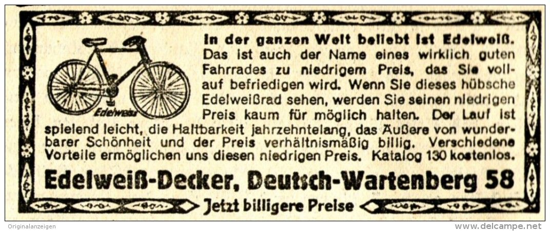Original-Werbung/ Anzeige 1931 - EDELWEISS-DECKER FAHRRAD /  DEUTSCH-WARTENBERG - ca. 80 x 35 mm
