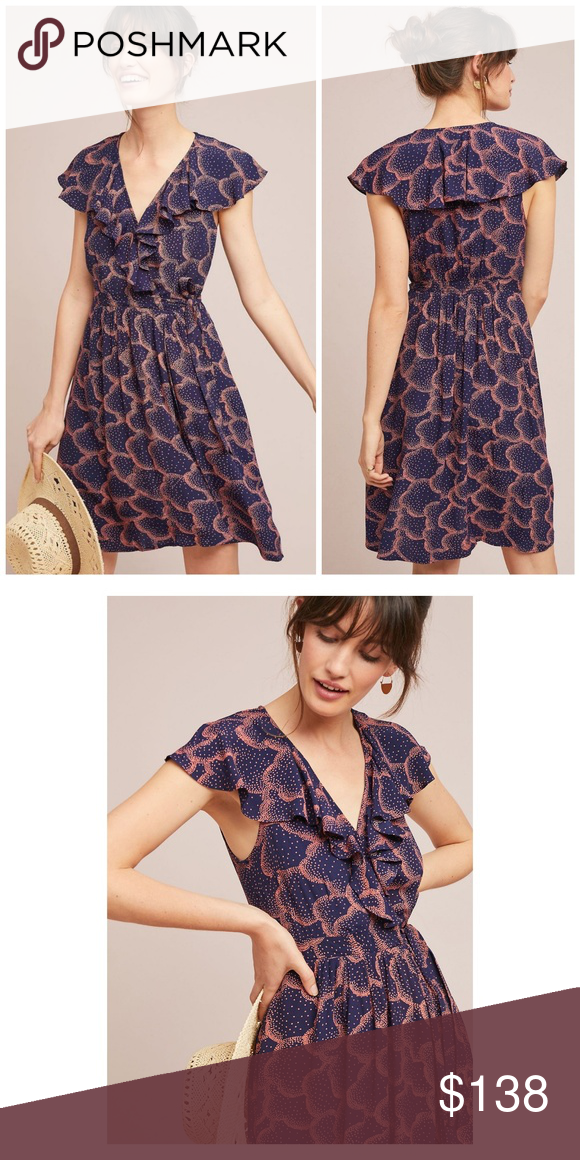 d207870cbcbec NWT, Anthropologie, Maeve Rosalia Wrap Navy Dress Whether you finish with  sandals or a
