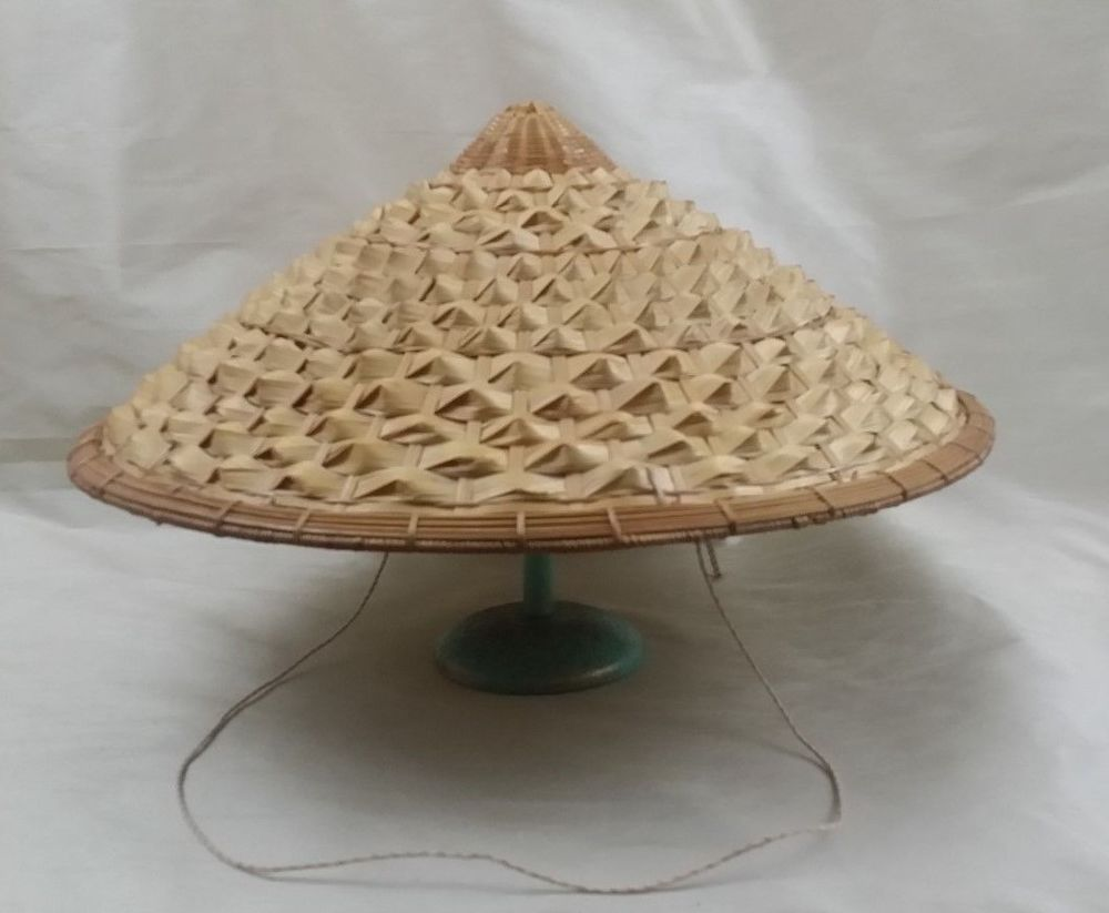 5d7a33233 Vintage Chinese Asian Farmer Rice Paddy Coolie Bamboo Sun Straw Woven Hat  Large