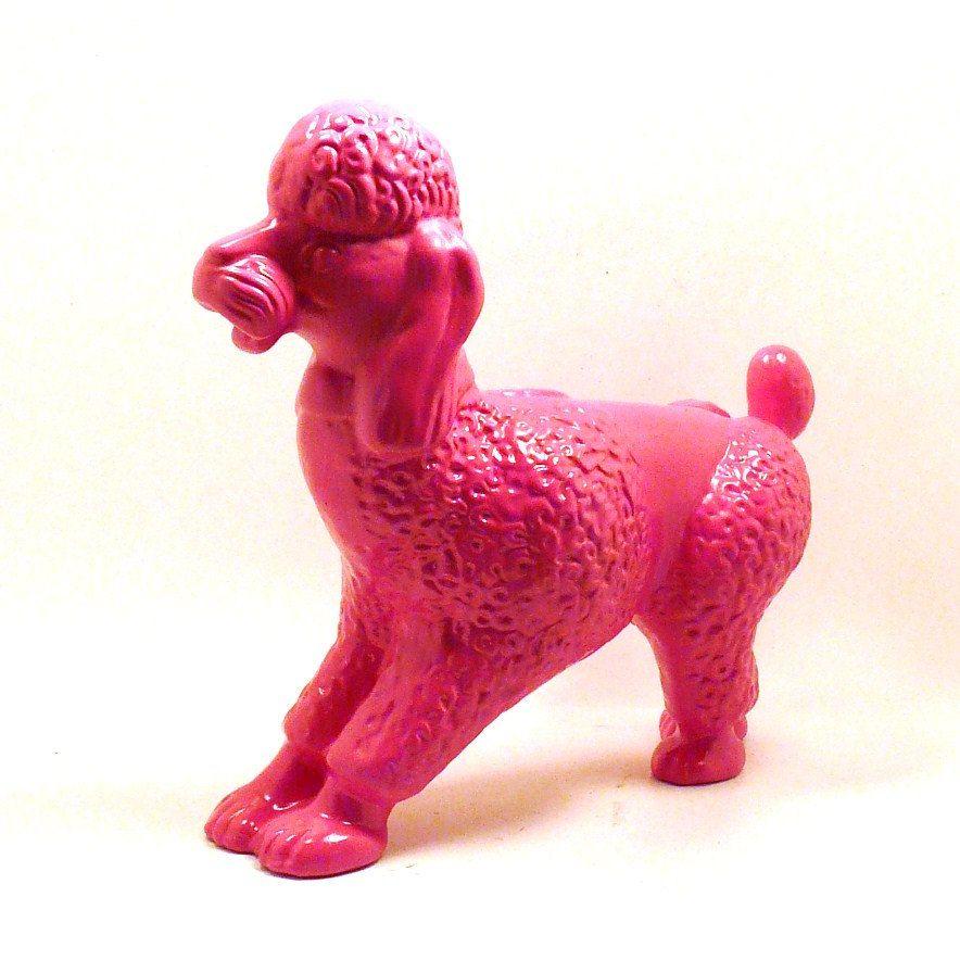 Ceramic Hot Pink Poodle For Shelf Poodle Statue Dog
