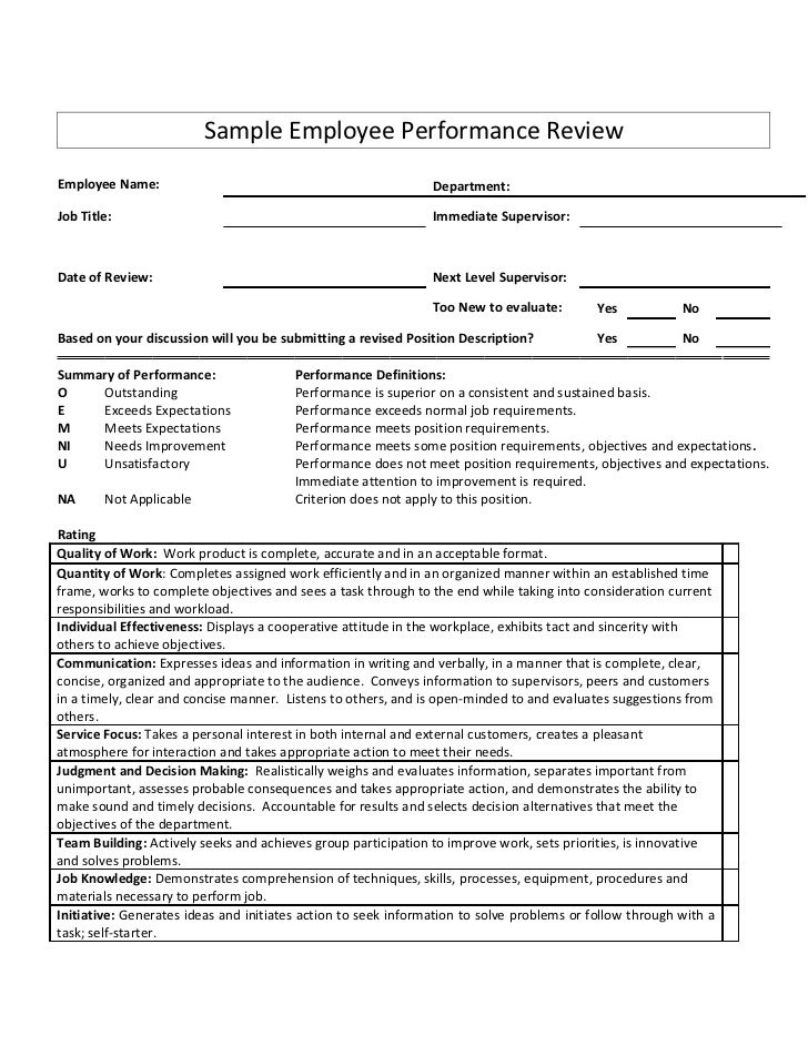 Sample Employee Performance Reviewemployee Name DepartmentJob