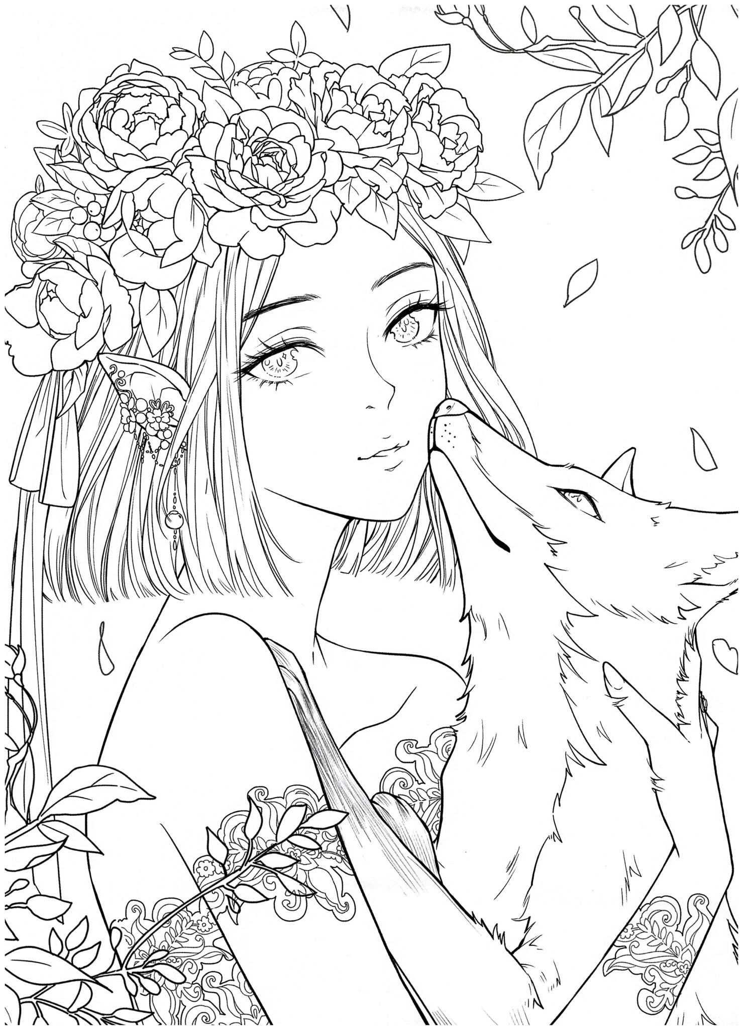 Chinese Portrait Coloring Ebook Vol 13 Floral Wedding Kayliebooks Coloring Book Art Coloring Books Cute Coloring Pages