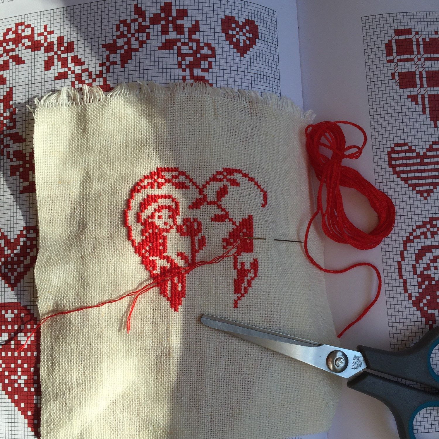 Cross stitch love heart: work in progress!