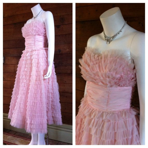 50's pink prom cupcake dress small mid by RecklessBeckVintage