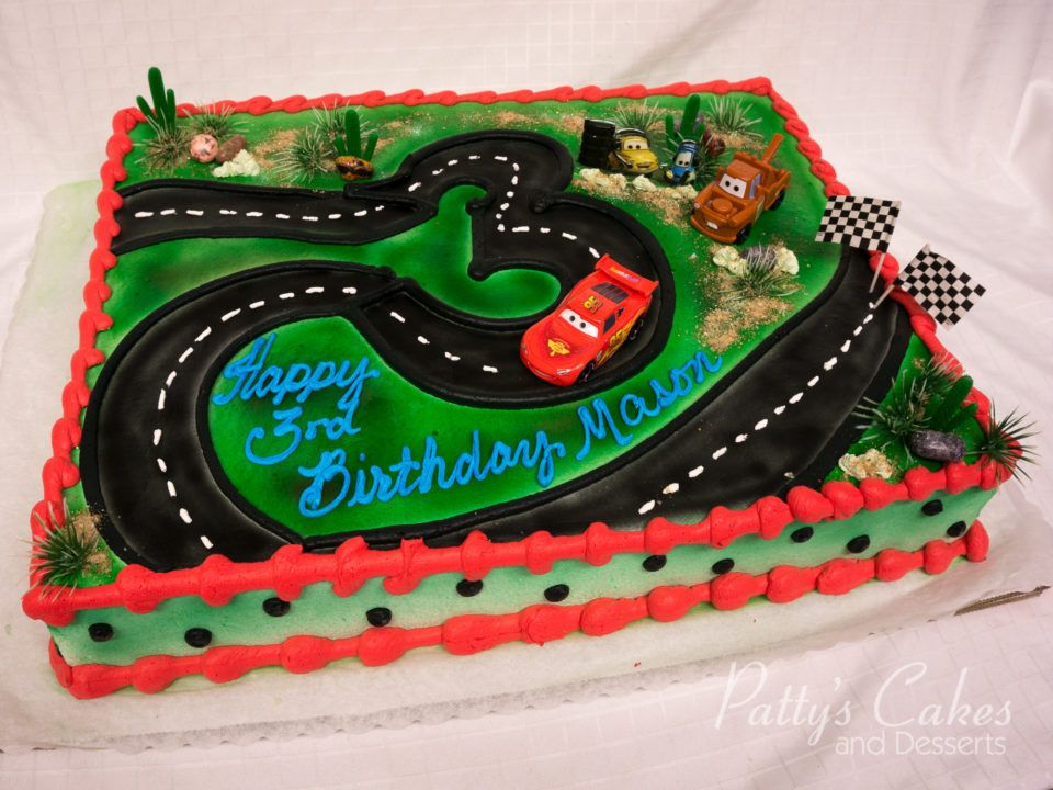 Photo of a disney cars birthday cake made by Pattys Cakes and