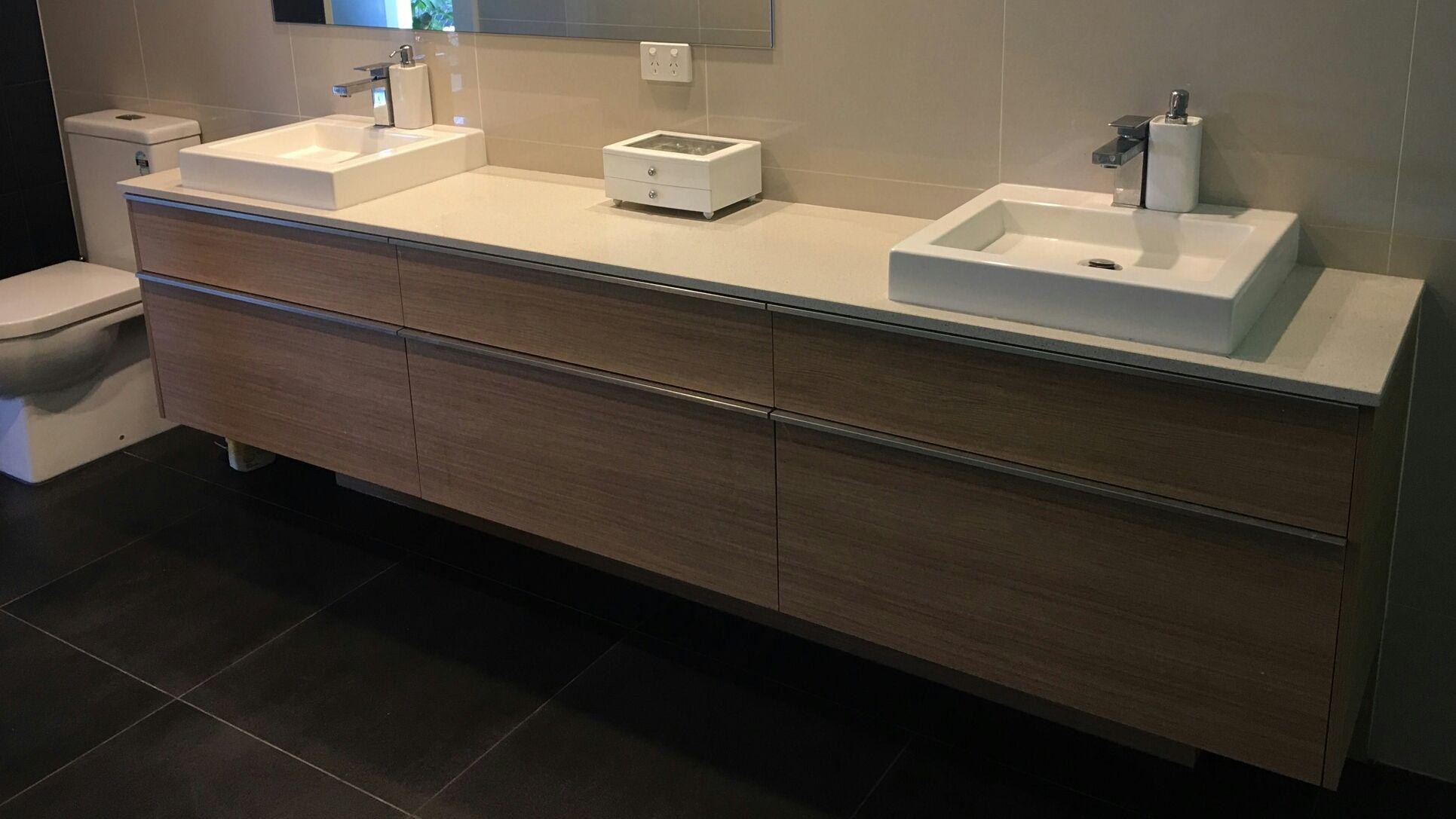 Double basin featuring mm stone top laminex sublime teak