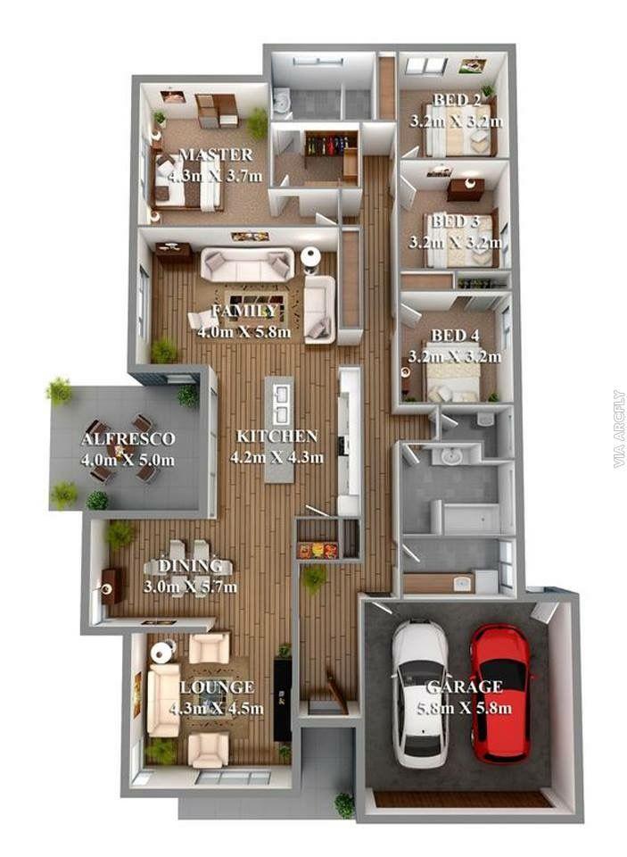 Pin By Havish Zain On Arsitektur Simple House Plans 4 Bedroom