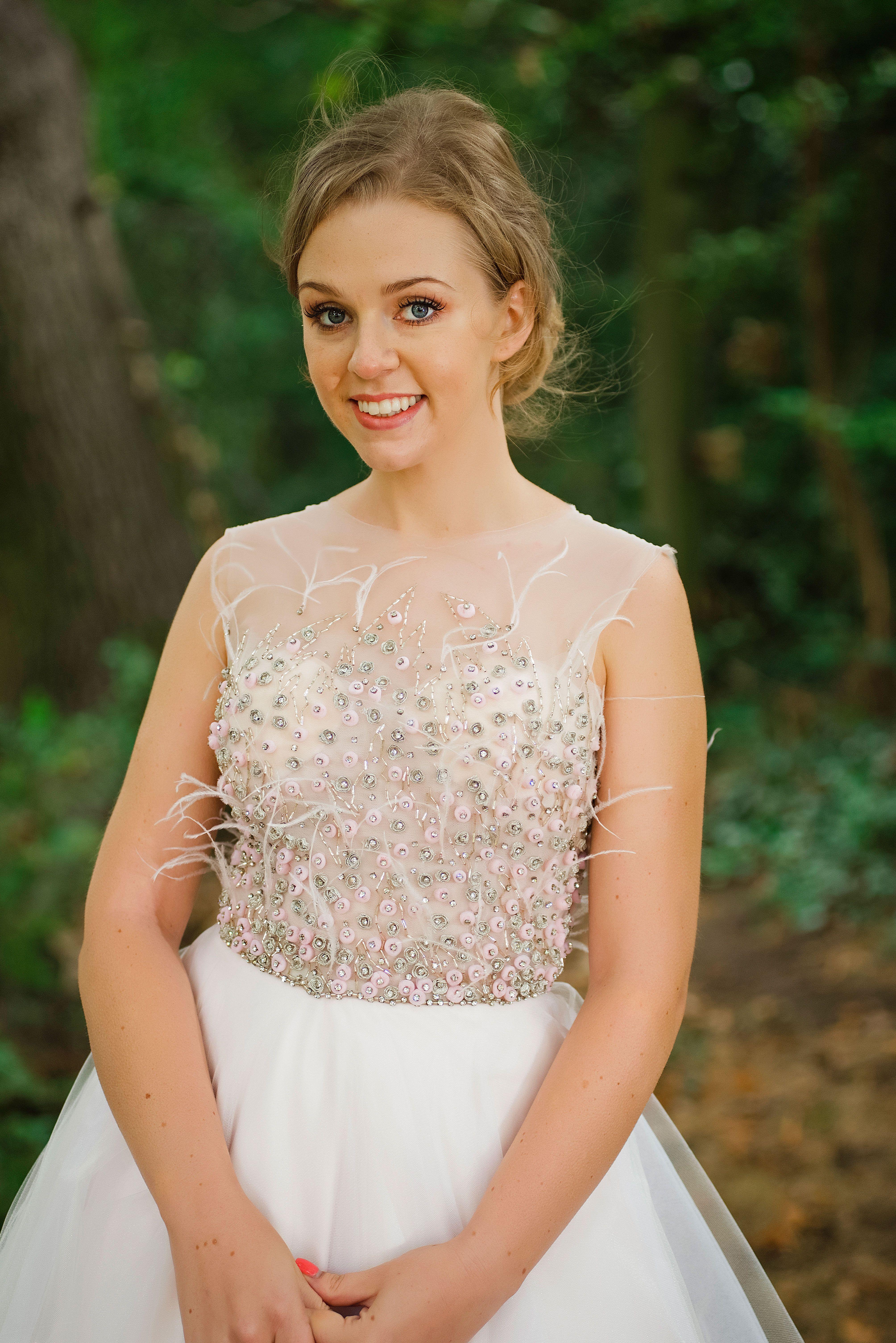 Handmade wedding dress  Morgan  romantic and feminine crystal feathers and organza pale