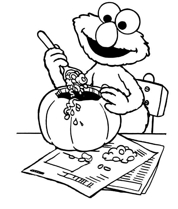 Elmo Make Halloween Pumpkin Coloring Page Netart Sesame Street Coloring Pages Pumpkin Coloring Pages Halloween Coloring Pages