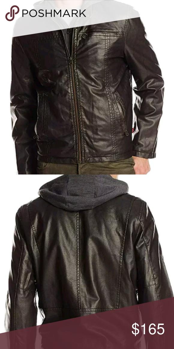 8c66b0b33c0 Levi s Men Vegan Faux Leather Hooded Jacket XLT Faux leather