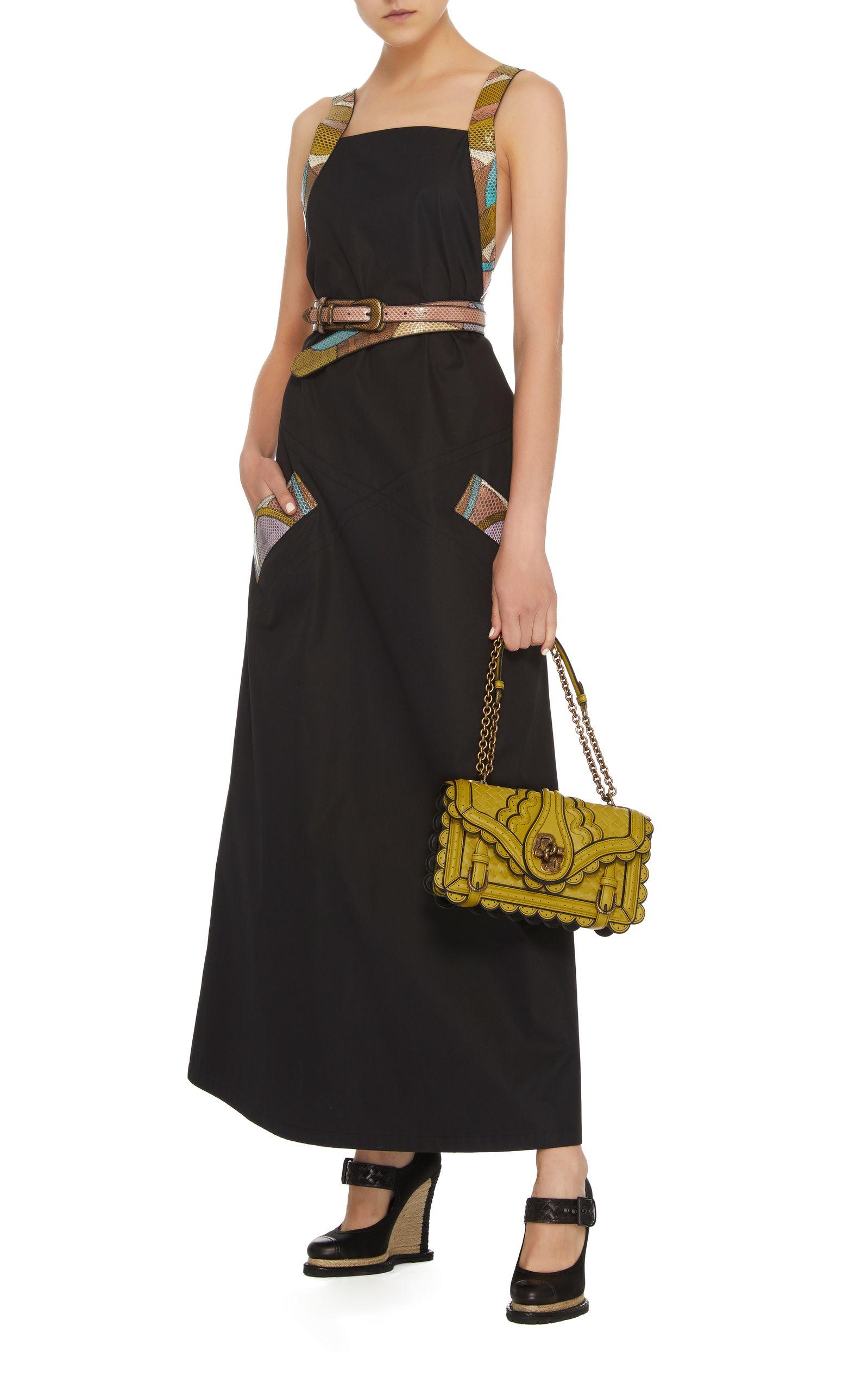 Cotton and Snakeskin Dress Bottega Veneta Cqnfq4NED