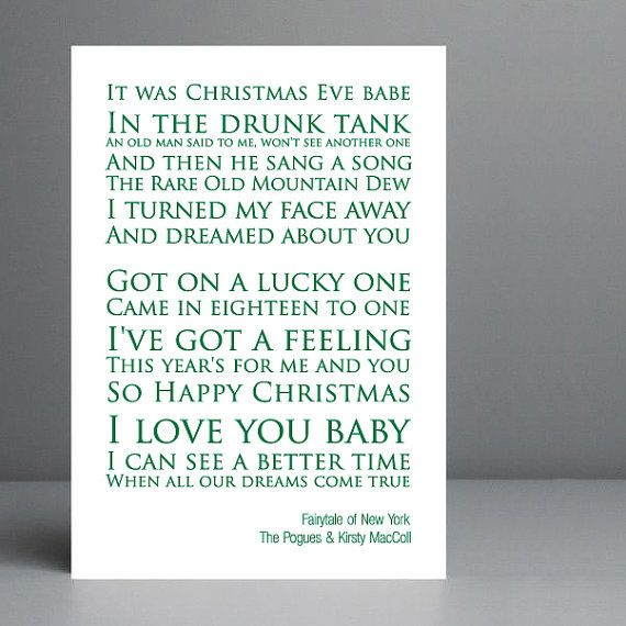 Christmas Gift Idea. Fairytale of New York - The Pogues & Kirsty ...