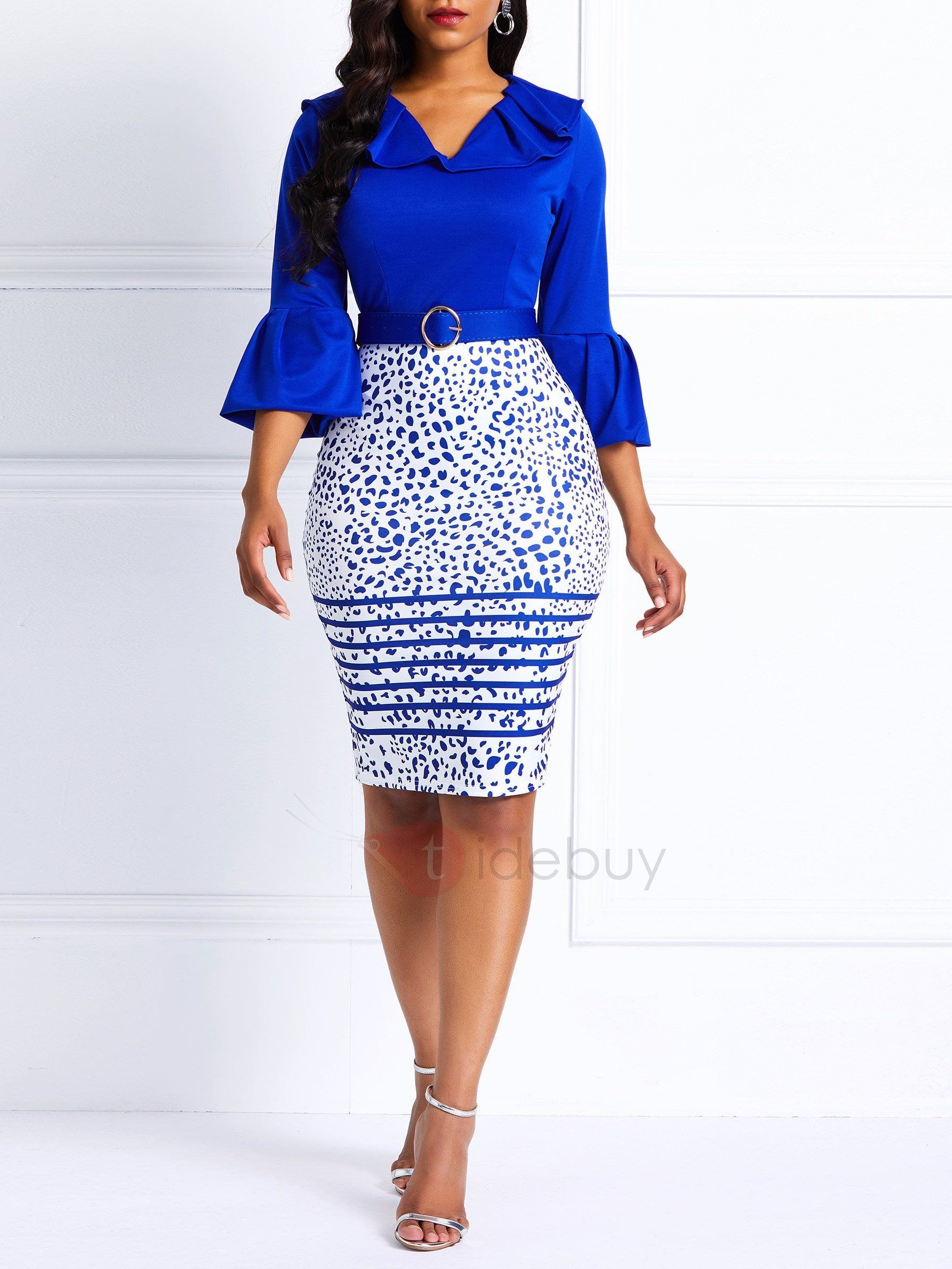56352d89558c Tidebuy.com Offers High Quality Flare Sleeve Color Blcok Spring Women's  Bodycon Dress, We have more styles for Bodycon Dresses