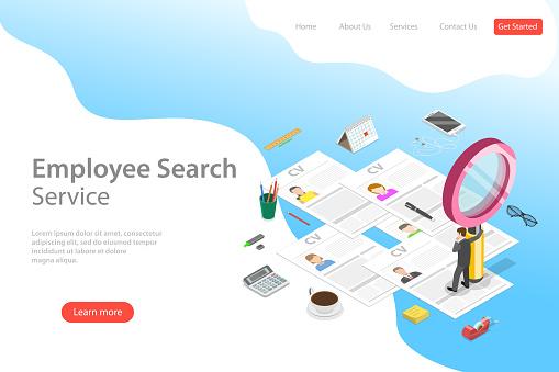 Isometric flat vector landing page template of employee