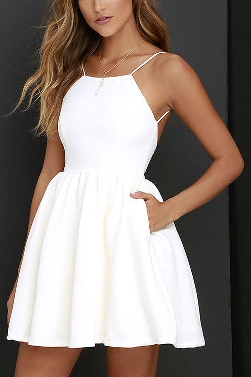 White spaghetti strap backless skater a line party mini dress