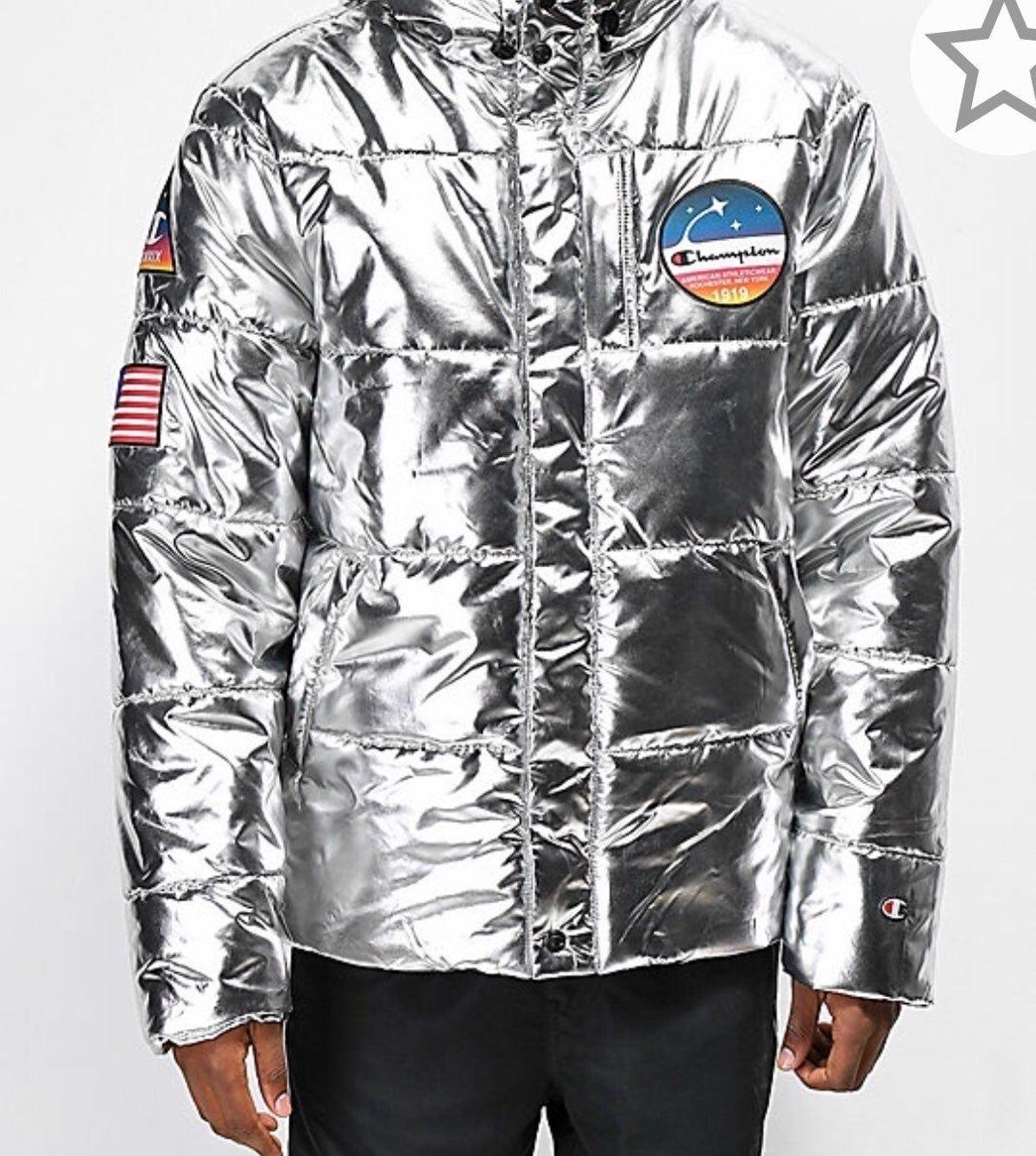 Champion Metallic Silver Puffer Jacket Silver Puffer Jacket Nasa Jacket Jackets [ 1339 x 1200 Pixel ]
