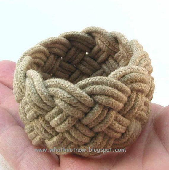 Olive Taupe Rope Bracelet Turks Head Knot Sailor Knot Bracelet