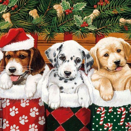 Hunde Jule Servietter - Pakke med 20