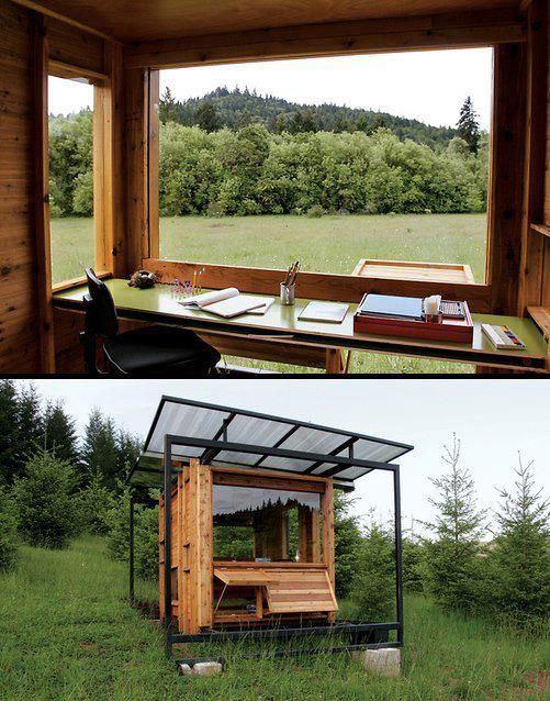 An off-the-grid writing space. There are no roads or even walking paths to get here. One day I WILL build one of these in the woods near my house. I love it!