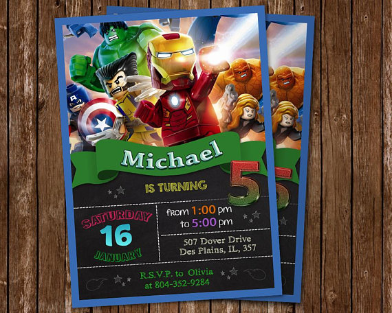 Lego Marvel Superheroes Invitation Birthday Party Super Heroes Invite Ave