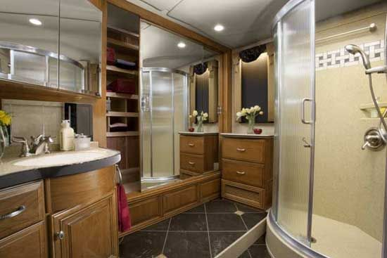 Newmar essex diesel pusher luxury motorhome interior for Bathroom designs essex
