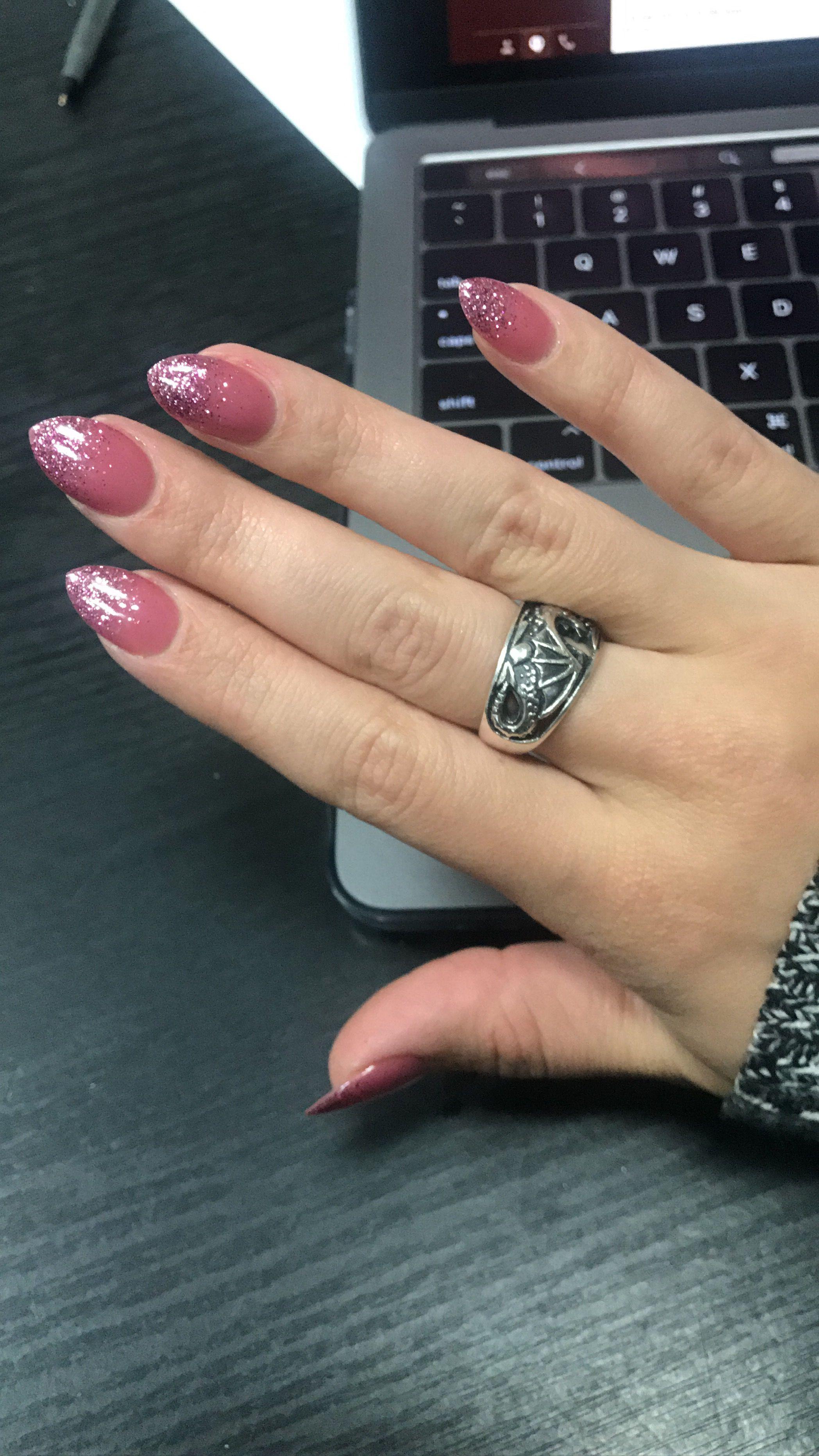Ombré nails pink on pink glitter. Mauve. Glitter. Coffin. Almond ...
